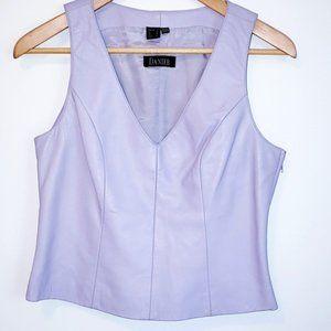 purple leather vest top
